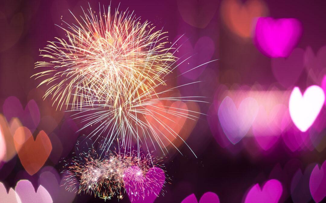35712446 – multicolor fireworks on heart bokeh background, love concept